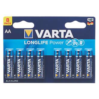 Lot de 8piles AA puissantes et longue durée Varta
