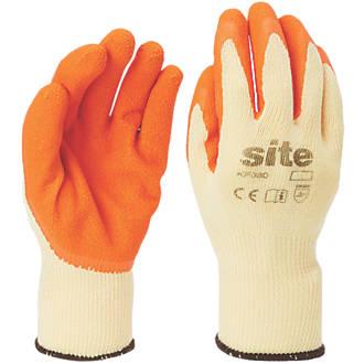 Gants de construction en latex Site KF380 orange / jaune tailleXL