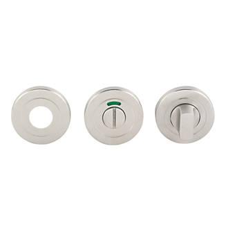 Kit de verrou à bouton à barrette pour WC standard Eurospec en acier inoxydable satiné 52mm
