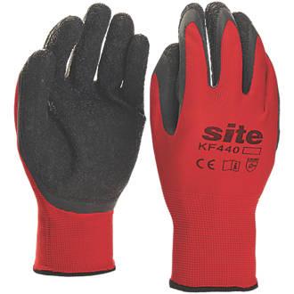 Gants de préhension en latex ultralégers Site KF440 rouge / noir tailleL