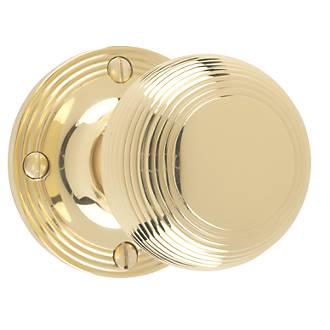 Paire de poignées à mortaise rainurées Carlisle Brass en laiton poli 52mm