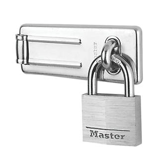 Moraillon et cadenas argenté Master Lock 89mm