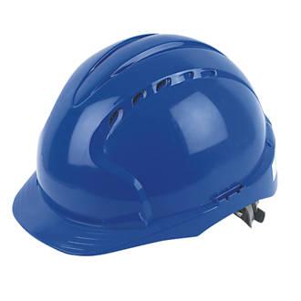 Casque de sécurité ventilé à cliquet coulissant et visière moyenne JSP EVO2 bleu