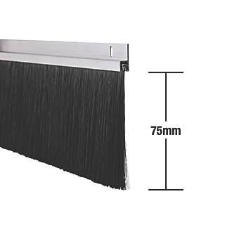 Lot de 2joints à brosse pour portes industrielles Stormguard effet aluminium 1,25m