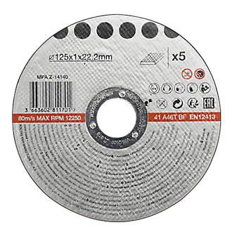 Disque de coupe métal 125x1x22,2mm 5pièces