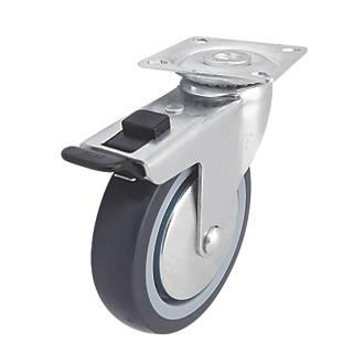Roulette pivotante en caoutchouc thermoplastique avec frein à usage intensif 100mm